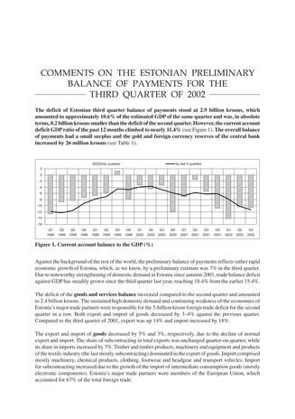 Estonian preliminary balance of payments for the year 2002
