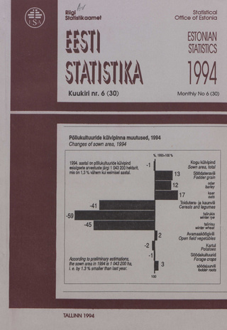 Eesti Statistika Kuukiri = Monthly Bulletin of Estonian Statistics ; 6(30) 1994-07