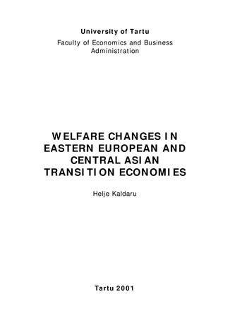 Welfare changes in Eastern European and Central Asian transition economies ; 7 (Working paper series [Tartu Ülikool, majandusteaduskond])