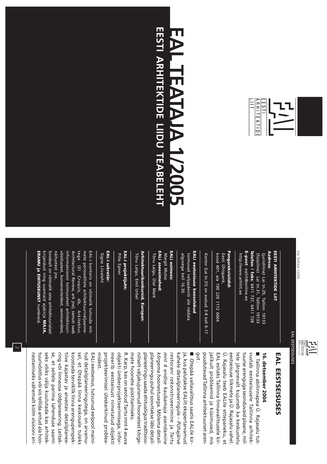 Arh. : Eesti Arhitektide Liidu Teataja = Newsletter of the Union of Estonian Architects ; 1 2005