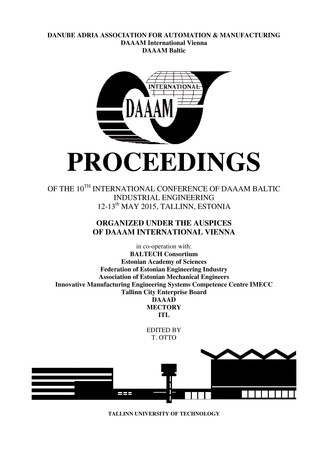 "Online proceedings of the 10th International DAAAM Baltic Conference ""Industrial engineering"""