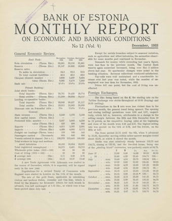 Bank of Estonia : monthly report on economic and banking conditions ; 12 1933-12