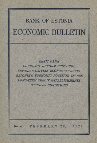 Economic bulletin : Bank of Estonia ; 4 1927-02-28