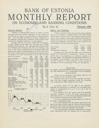 Bank of Estonia : monthly report on economic and banking conditions ; 2 1933-02
