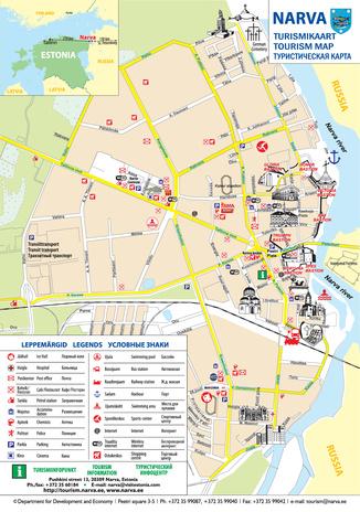Narva turismikaart tourism map 2010 DIGAR