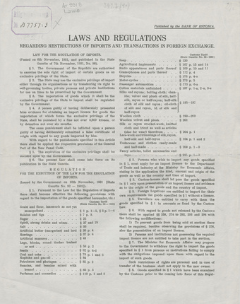 Laws and regulations regarding restrictions of imports and transactions in foreign exchange