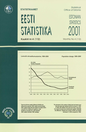 Eesti Statistika Kuukiri = Monthly Bulletin of Estonian Statistics ; 4(112) 2001-05