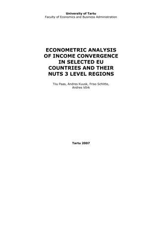 Econometric analysis of income convergence in selected EU countries and their nuts 3 level regions ; 60 (Working paper series (Tartu Ülikool, majandusteaduskond) ; )