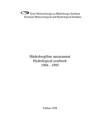 Hüdroloogiline aastaraamat = Hydrological yearbook ; 1994-1995