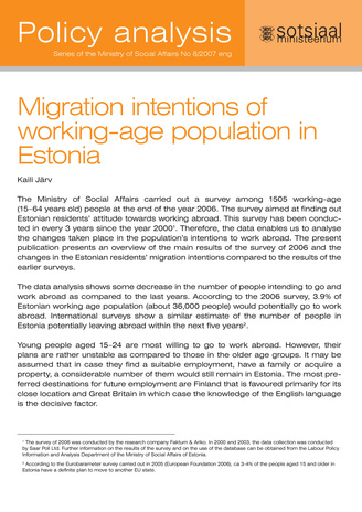 Migration intentions of working-age population in Estonia ; 8 (Series of the Ministry of Social Affairs. Policy analysis)