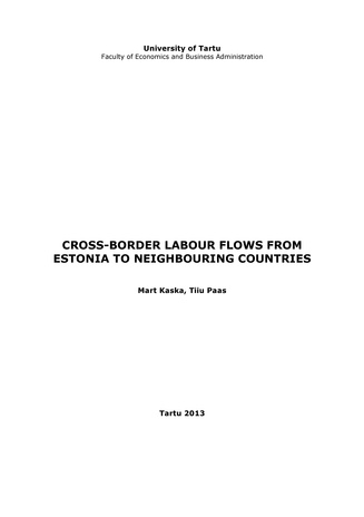 Cross-border labour flows from Estonia to neighbouring countries