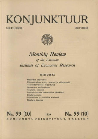 Konjunktuur : monthly review of the Estonian Institute of Economic Research ; 59 1939-10-30