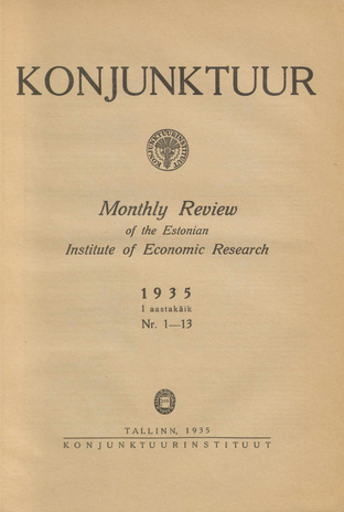 Konjunktuur : monthly review of the Estonian Institute of Economic Research ; sisukord 1935-11-30