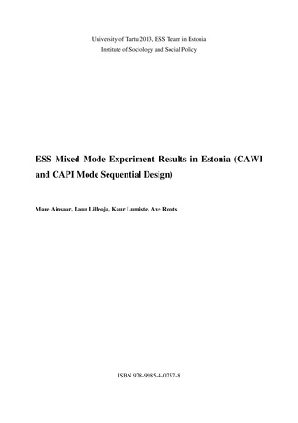 ESS mixed mode experiment results in Estonia (CAWI and CAPI mode sequential design)