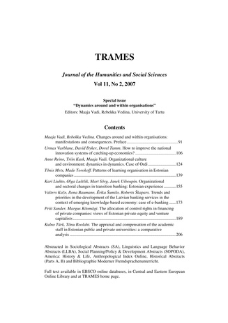 Trames : journal of the humanities and social sciences : an