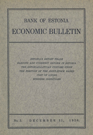 Economic bulletin : Bank of Estonia ; 3 1926-12-31