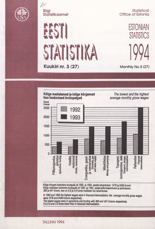 Eesti Statistika Kuukiri = Monthly Bulletin of Estonian Statistics ; 3(27) 1994-04